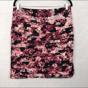 White House Black Market Black & Pink Floral Skirt